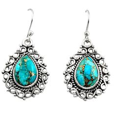 925 sterling silver 7.90cts blue copper turquoise dangle earrings jewelry r13436