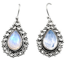 8.83cts natural rainbow moonstone 925 sterling silver dangle earrings r13437
