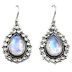 8.22cts natural rainbow moonstone 925 sterling silver dangle earrings r13438
