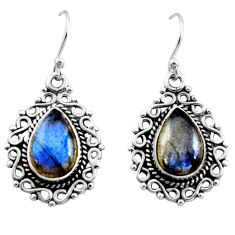 8.54cts natural blue labradorite 925 sterling silver dangle earrings r13439