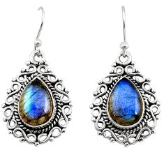 925 sterling silver 8.22cts natural blue labradorite dangle earrings r13440