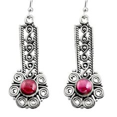 2.85cts natural red garnet 925 sterling silver dangle earrings jewelry r13441