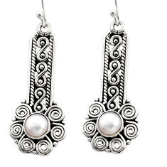 2.85cts natural white pearl 925 sterling silver dangle earrings jewelry r13443