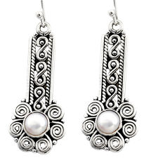 925 sterling silver 2.91cts natural white pearl dangle earrings jewelry r13444