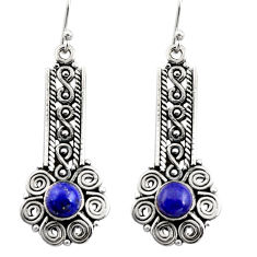 2.84cts natural blue lapis lazuli 925 sterling silver dangle earrings r13445