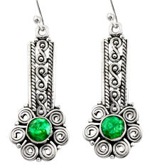 2.74cts natural green emerald 925 sterling silver dangle earrings jewelry r13446