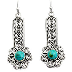 2.74cts blue arizona mohave turquoise 925 sterling silver dangle earrings r13447