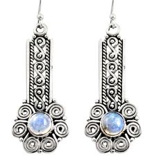 925 sterling silver 2.83cts natural rainbow moonstone dangle earrings r13448