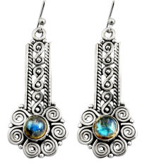 2.85cts natural blue labradorite 925 sterling silver dangle earrings r13449