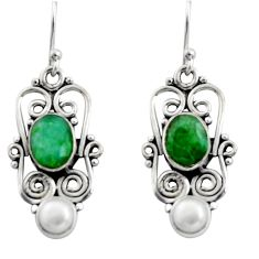 6.02cts natural green emerald pearl 925 sterling silver dangle earrings r13451
