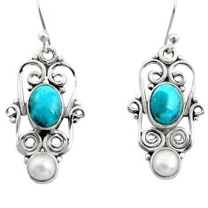 925 silver 5.87cts blue arizona mohave turquoise pearl dangle earrings r13452