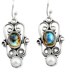 925 silver 6.54cts natural blue labradorite white pearl dangle earrings r13454