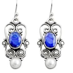 6.36cts natural blue sapphire pearl 925 sterling silver dangle earrings r13455