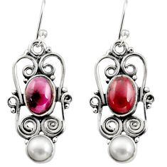 925 sterling silver 5.79cts natural red garnet pearl dangle earrings r13457