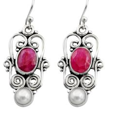 5.79cts natural red ruby pearl 925 sterling silver dangle earrings r13458