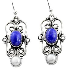 6.02cts natural blue lapis lazuli pearl 925 silver dangle earrings r13459