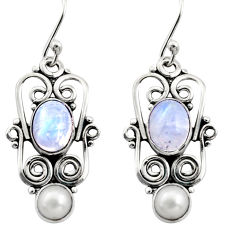925 silver 5.87cts natural rainbow moonstone pearl dangle earrings r13460