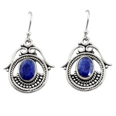 4.22cts natural blue sapphire 925 sterling silver earrings jewelry r13461