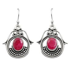 4.25cts natural red ruby 925 sterling silver earrings jewelry r13462