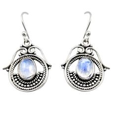 4.46cts natural rainbow moonstone 925 sterling silver earrings jewelry r13466