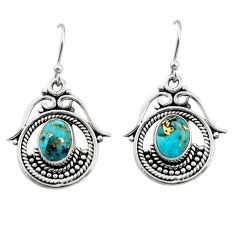 4.25cts blue copper turquoise 925 sterling silver earrings jewelry r13467