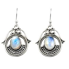 925 sterling silver 4.51cts natural rainbow moonstone earrings jewelry r13468