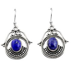 4.46cts natural blue lapis lazuli 925 sterling silver earrings jewelry r13469