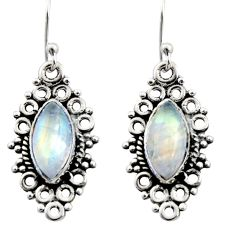 9.83cts natural rainbow moonstone 925 sterling silver earrings jewelry r13477