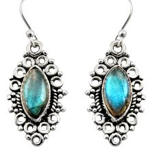 925 sterling silver 9.86cts natural blue labradorite earrings jewelry r13478