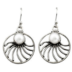 2.72cts natural white pearl 925 sterling silver dangle earrings jewelry r13482