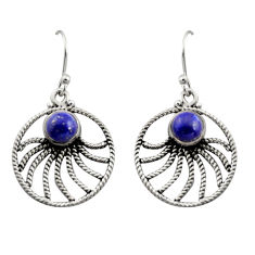 925 sterling silver 2.72cts natural blue lapis lazuli dangle earrings r13487