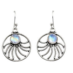 2.72cts natural rainbow moonstone 925 sterling silver dangle earrings r13489