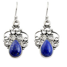 5.11cts natural blue lapis lazuli 925 sterling silver dangle earrings r13491