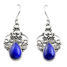 5.11cts natural blue lapis lazuli 925 sterling silver dangle earrings r13492