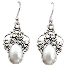 5.24cts natural white pearl 925 sterling silver dangle earrings jewelry r13495