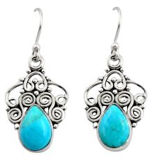 5.24cts blue arizona mohave turquoise 925 sterling silver dangle earrings r13498