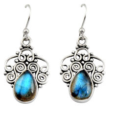 925 sterling silver 5.23cts natural blue labradorite dangle earrings r13499