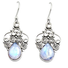 5.54cts natural rainbow moonstone 925 sterling silver dangle earrings r13500