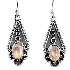 3.52cts natural pink rose quartz 925 sterling silver dangle earrings r13822