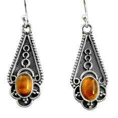 925 sterling silver 3.13cts natural brown tiger's eye dangle earrings r13823