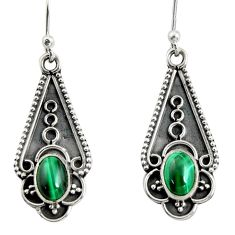 3.14cts natural green malachite (pilot's stone) silver dangle earrings r13824