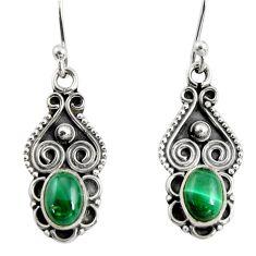 3.42cts natural green malachite (pilot's stone) silver dangle earrings r13825
