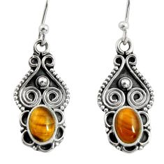 3.29cts natural brown tiger's eye 925 sterling silver dangle earrings r13826