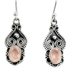 925 sterling silver 1.63cts natural pink rose quartz dangle earrings r13828