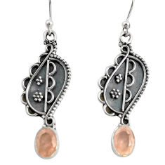 3.51cts natural pink rose quartz 925 sterling silver dangle earrings r13829
