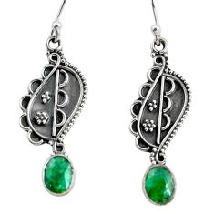 3.32cts natural green emerald 925 sterling silver dangle earrings jewelry r13830