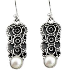 1.96cts natural white pearl 925 sterling silver dangle earrings jewelry r13835
