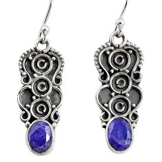 925 sterling silver 3.29cts natural blue sapphire dangle earrings jewelry r13836