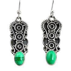 3.51cts natural green malachite (pilot's stone) silver dangle earrings r13837