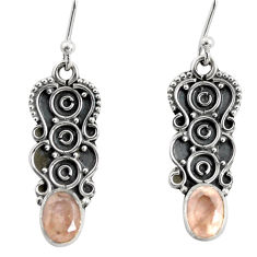 3.51cts natural pink rose quartz 925 sterling silver dangle earrings r13838